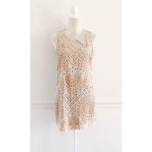 Cleobella Nude Laser Cut Crochet Fitted Dress